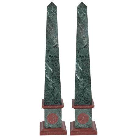 Green & Red Marble Grand Tour Obelisk, Pair
