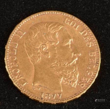 BELGIQUE 20 Francs or Léopold II