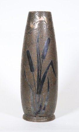 """""""Silver Crest"""" Sterling Bronze Arts & Crafts Vase"""
