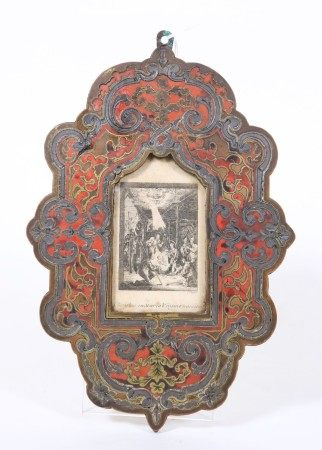 French 19 C Boulle on Wood Frame; Nativity Etching