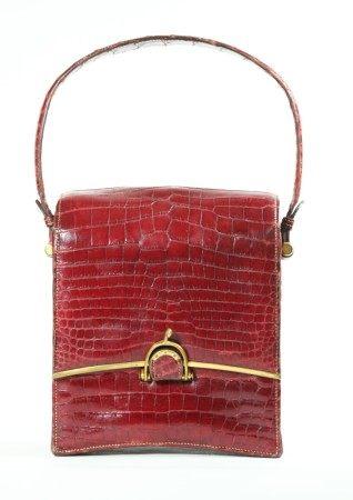 Rare Vintage Hermes Red Alligator Handbag