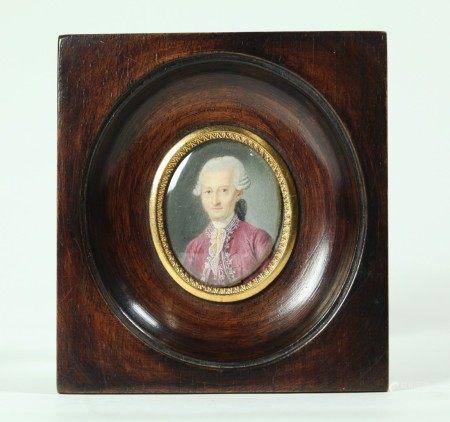 Rocher 1780; Miniature Portrait French Court Man
