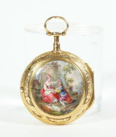 Rey 18 Century Enameled 18K Gold Pocket Watch