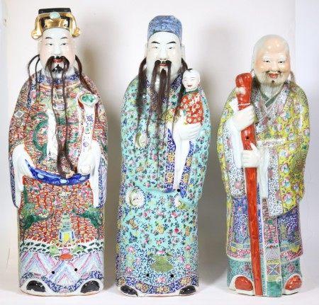 """Chinese Qing Large """"Fu, Lu, & Shou"""" Porcelains"""