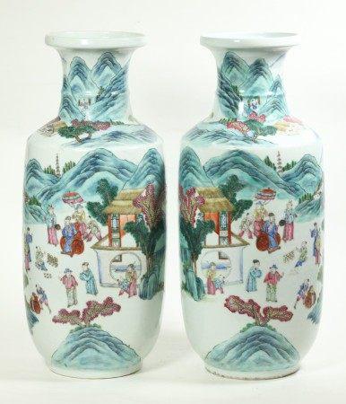 Pr Chinese Famille Rose Porcelain Landscape Vases