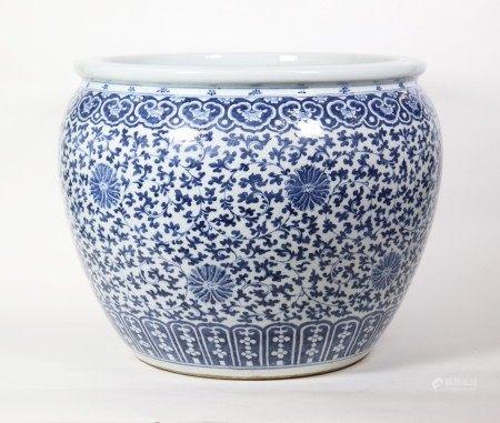 Lg Chinese 19C Blue & White Porcelain Fish Bowl