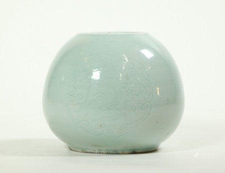 Chinese Celadon Porcelain Water Pot Daoguang Mark