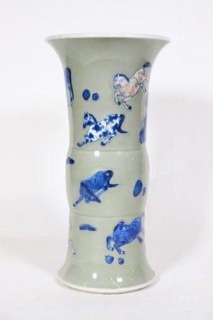 Chinese Kangxi Blue Red White Celadon Gu Vase