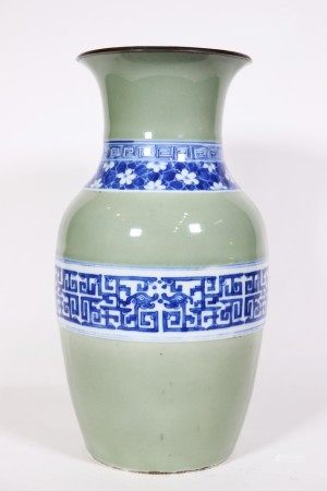 Chinese 19 C Blue White Celadon Porcelain Vase