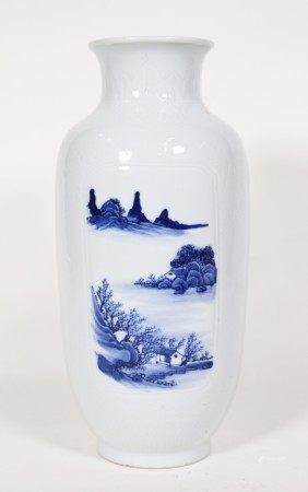 Chinese 18 C Blue & White Porcelain Vase