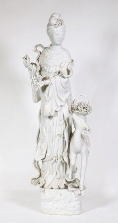 Large Chinese Blanc de Chine Porcelain Magu & Deer