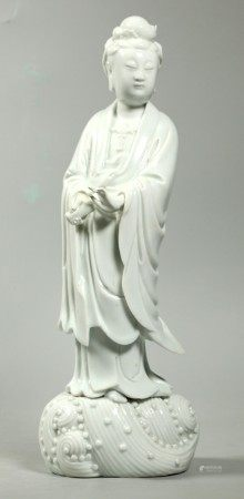 Chinese Blanc de Chine Standing Guanyin on Waves