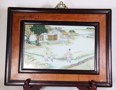 Fine Chinese Qing Dynasty Porcelain Figure Plaque