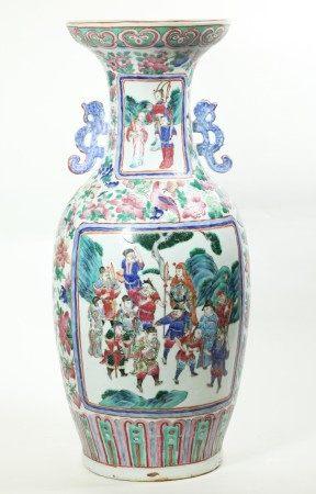 Lg Chinese 19 C Famille Rose Porcelain Temple Vase