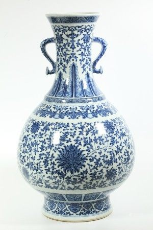 Chinese Blue & White Porcelain Ming Style Lg Vase