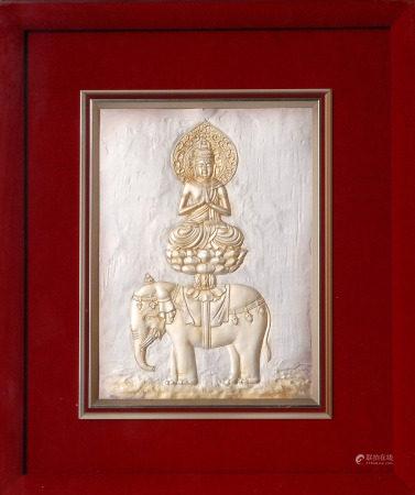 銀雕普賢菩薩像 鏡框