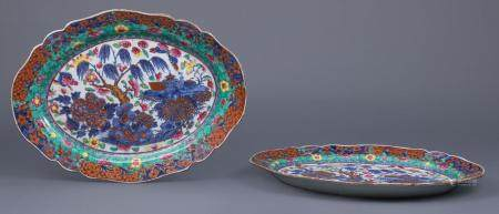 Polychrome Clobbered Chinese Export Platters