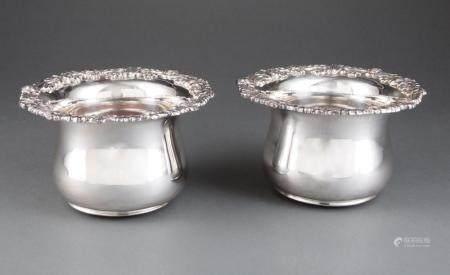 Pair of Georgian-Style Silverplate Wine Coasters