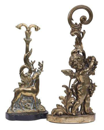 Two English Brass Figural Doorstops