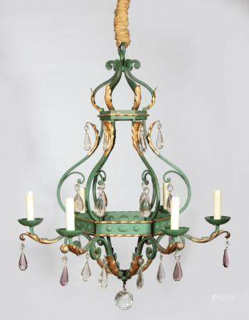 French Iron and Tole Peinte Six-Light Chandelier