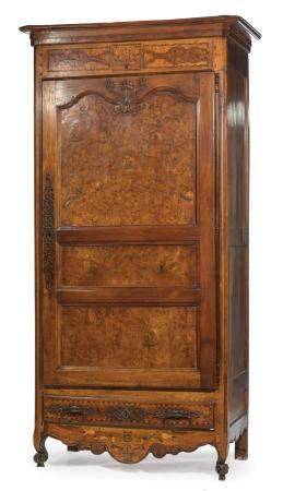 French Marquetry and Burlwood Bonnetiere
