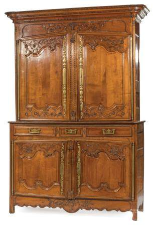 Provincial Carved Cherrywood Buffet a Deux Corps