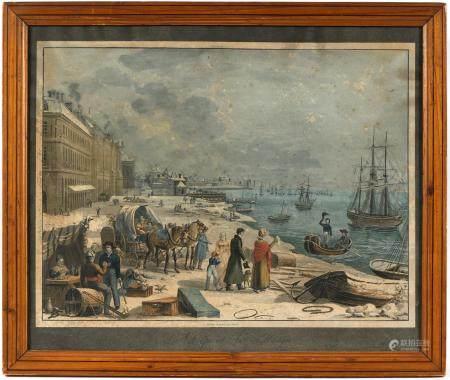 Jean Pierre Marie JAZET (1788-1871).Le départ du marin. Gravure en couleurs.30,5 x 40,5 cm.(rou