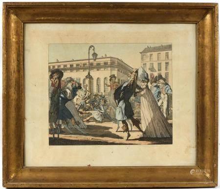 École française début XIXe.Caricature politique figurant entre autres MURAT, BONAPARTE, TALLEYR