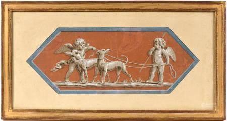 École française fin XVIIIe.Angelots et chiens.Gouache sur papier de forme géométrique.15 x 39 c