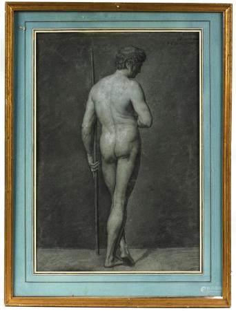 François Guillaume MÉNAGEOT (1744-1816).Nu masculin de dos.Fusain, pierre noire et rehaut de cr