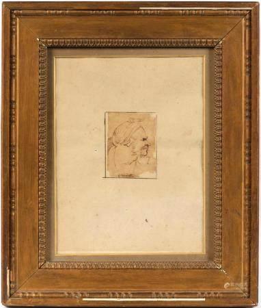 Anne-Louis GIRODET (1767-1824).Profil d'homme oriental.Dessin à l'encre.23,5 cm x 18 cm.(accide