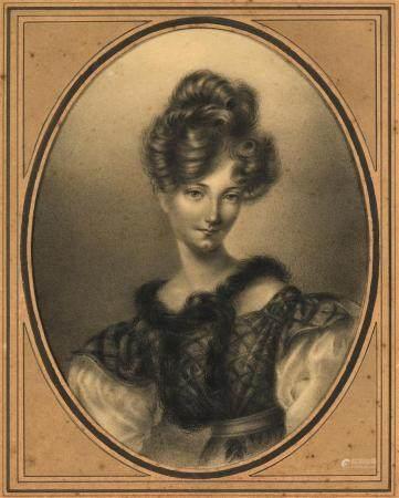 École française XIXe.Portrait présumé de la Duchesse de Berry.Fusain à vue ovale présenté dans
