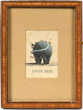 École française XIXe.Caricature de Louis XVIII.Aquarelle.8,6 x 5,9 cm.