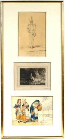 Encadrement regroupant trois oeuvres sur papier de la famille d'ORLÉANS : - François Ferdinand