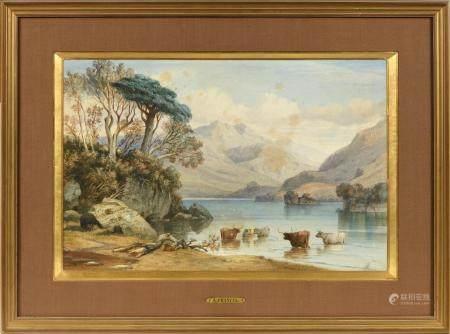 Alexandre Thomas FRANCIA (1813/20-1884).Vaches dans un lac de montagne.Aquarelle signée en bas