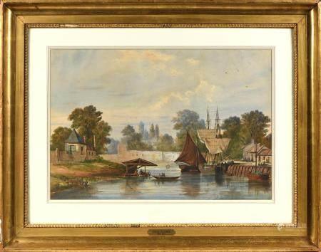 Justin OUVRIÉ (1806-1879).Port animé aux lavandières.Aquarelle signée en bas à gauche.38 x 56 c