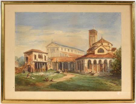 École italienne fin XVIIIe-début XIXe.Monuments italiens et ruines dont une vue de Rimini. Séri