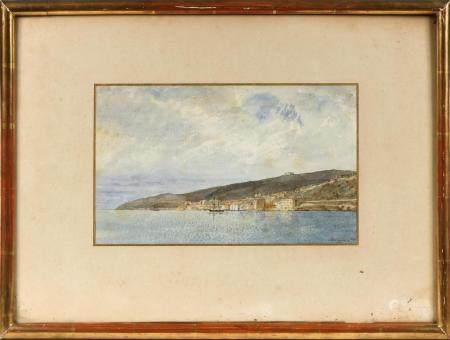 DESLIGNIERES (XIXe).Baie en Méditerranée.Aquarelle signée en bas à droite et datée 1875.19,5 x