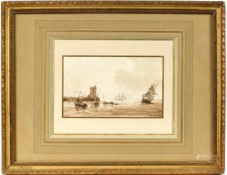 Théodore GUDIN (1802-1880).Marine.Lavis brun signé en bas à droite.12 x 19,5 cm.