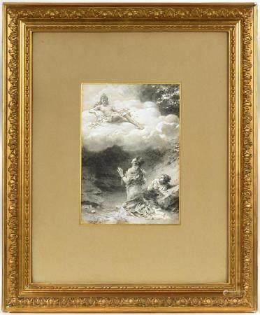 Louis-Alexandre LELOIR (1843-1884).Les Amants magnifiques.Dessin à l'encre de chine, lavis gris