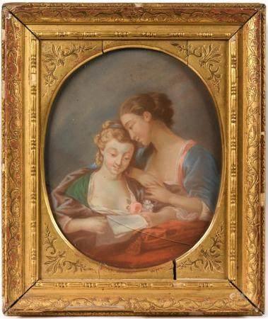 École française XIXe. Jeunes femmes lisant une lettre. Pastel à vue ovale. 24 x 19 cm. (vitre f