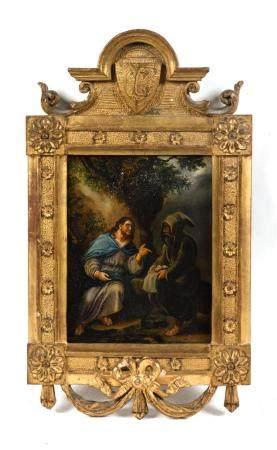 École française XIXe.Le Christ et un ermite.Huile sur panneau.17 x 13,5 cm.(restauration notamm