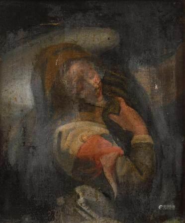 École italienne XVIIIe.Marie-Madeleine.Fragment d'huile sur toile.40,5 x 33,5 cm(accidents et r
