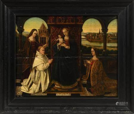 École flamande XIXe, dans le goût de Petrus CHRISTUS (1410-1475).Vierge à l'Enfant avec donatai