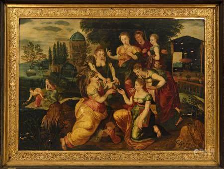 École flamande XVIe, atelier du Maître du Fils Prodigue.Moïse sauvé des eaux.Huile sur panneau