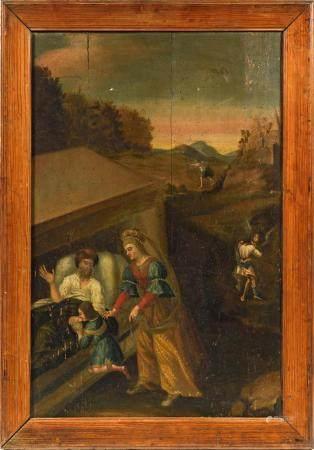 École XVIIIe.Esaü et Jacob.Huile sur panneau composé de quatre planches.95 x 61 cm.(petits manq