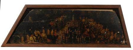 École du Nord, XVIe.Le Festin d'HérodeFragment d'huile sur panneau.20,5 x 69 cm.(trous, fentes,