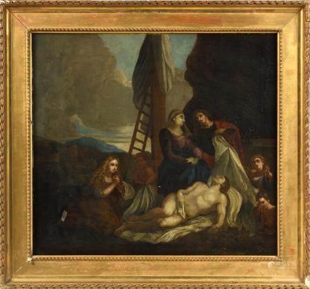 École XVIIIe.La Descente de Croix.Huile sur toile.56 x 63,5 cm.(petit accident, rentoilage et r