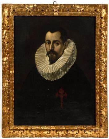 École espagnole début XVIIe, atelier du GRECO (1541-1614).Portrait d'homme à la fraise.Huile su