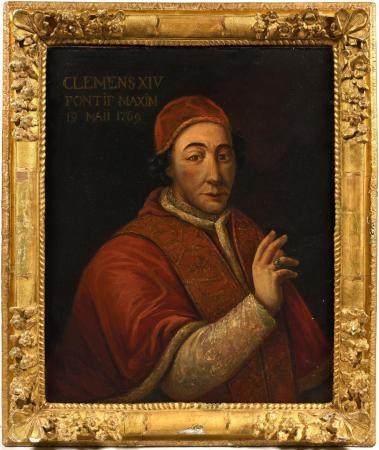 """École italienne XVIIIe.Portrait du Pape Clément XIV.Huile sur toile portant les inscriptions """"C"""